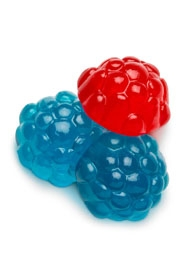 Red and Blue Gummi Raspberries